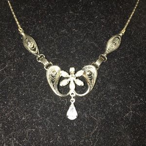 Vintage SS Amy Lee Crystal Filigree Necklace 18""